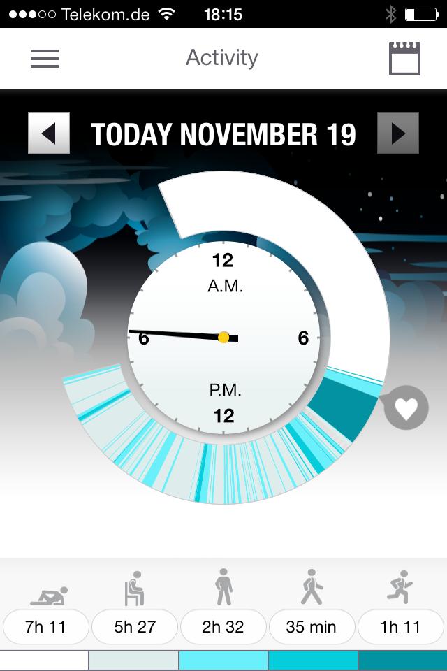 Polar Flow App Activity Tagesansicht