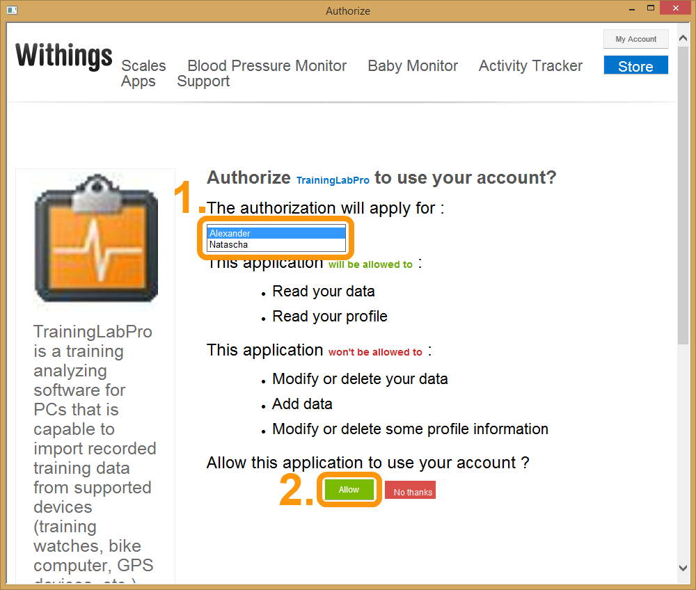 Withings Authorisierung